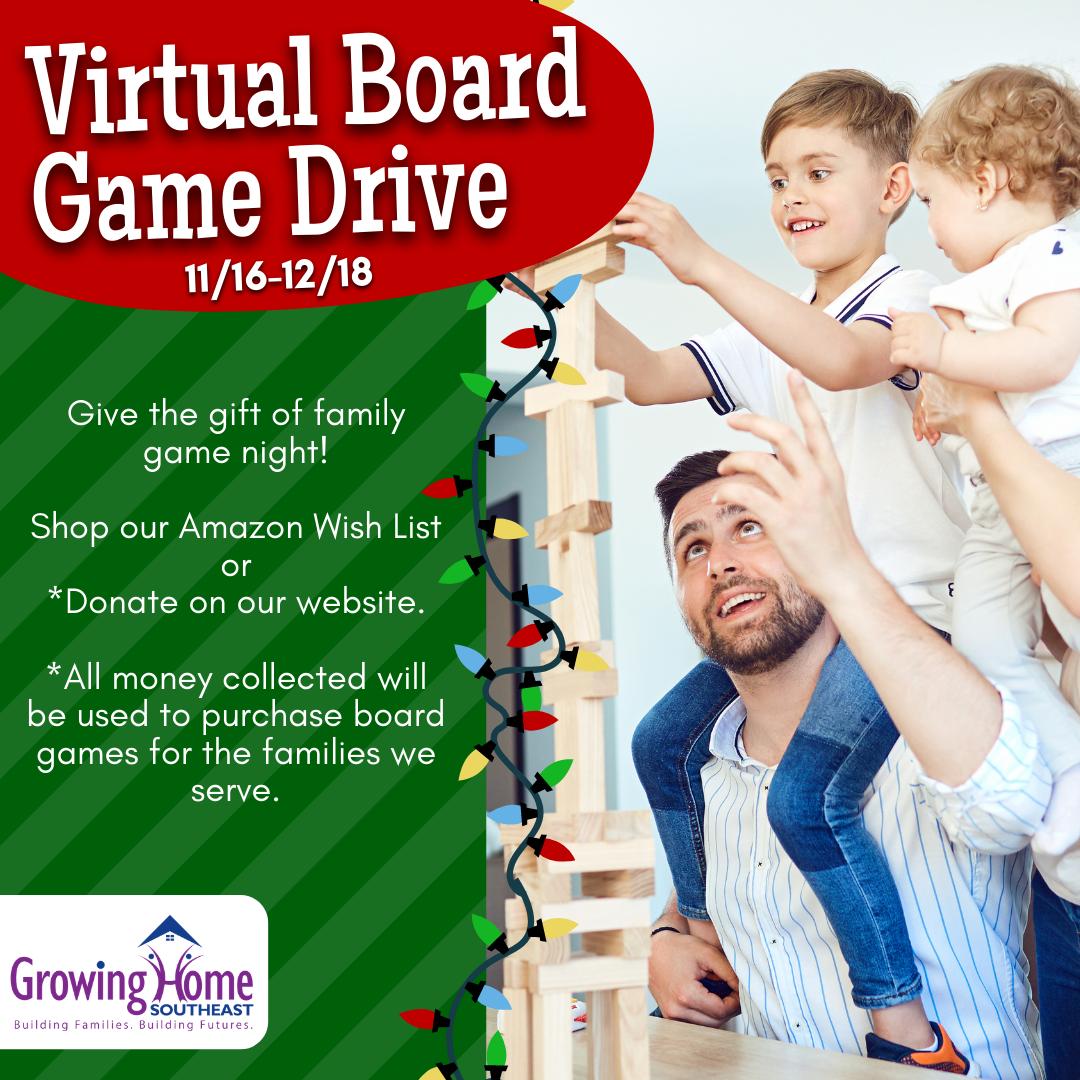 Virtual Holiday Board Game Drive November 16 - December 18